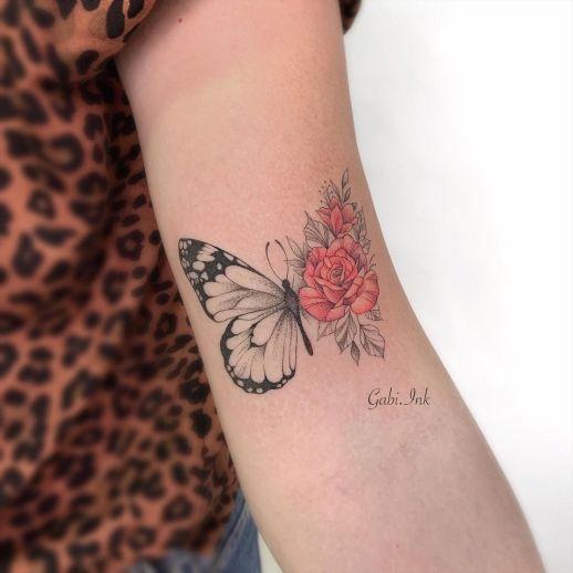 Metamorfosis de una Mariposa a flores por Gabi Ink