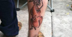 music skull tattoo