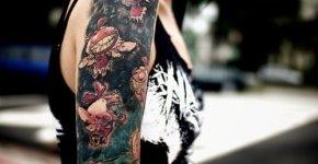 Tatuaje brazo y hombro demonios