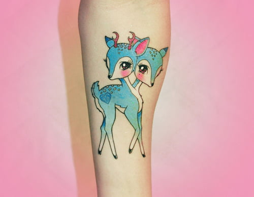 two headed deer tattoo cute