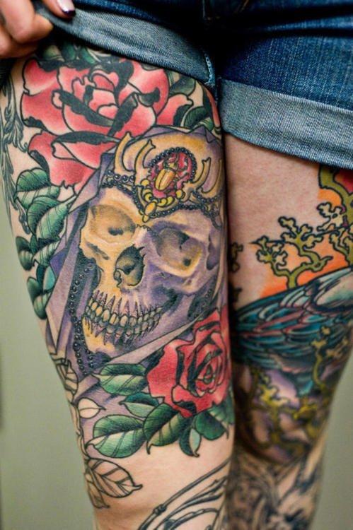 Tattoo Calavera En La Pierna