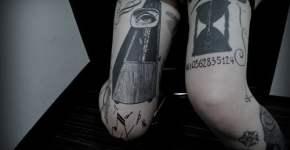 Tatuaje metronomo y reloj de arena
