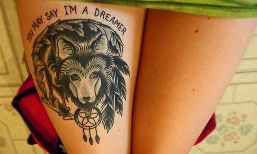 wolf tattoo on the leg