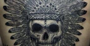 Skull tattoo on the back