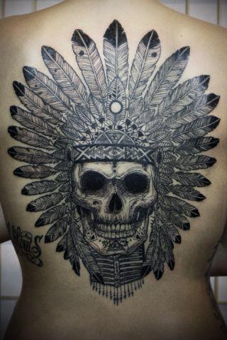 Skull tattoo on the back