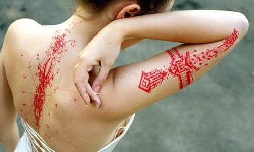 red tattoos
