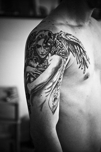 Angel tattoo on shoulder