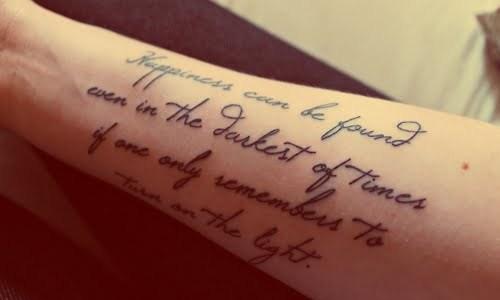 Italics phrase tattoo
