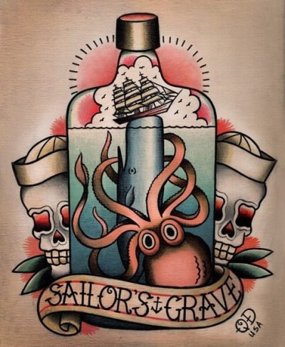 Diseño de tatuaje de botella y kraken