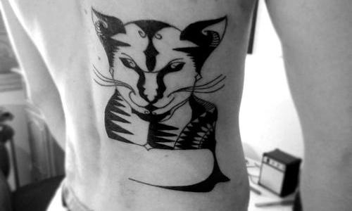 Blackwork cat tattoo