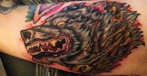 Tatuaje lobo por David Ande