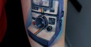 Polaroid camera tattoo