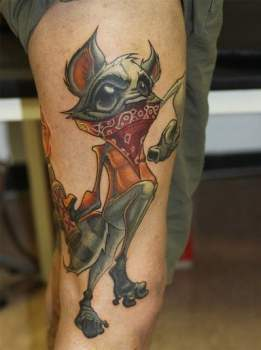 Racoon tattoo on leg