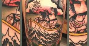 A couple portrait tattooed on shoulder