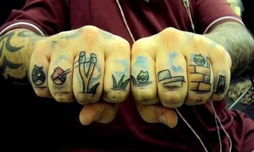Knuckle tattoos angry birds