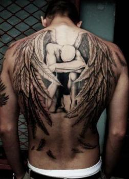 angel large back tattoo