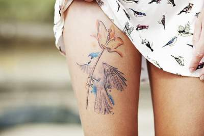 Watercolor tattoo on leg