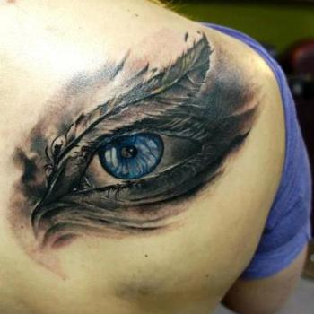 Blue eye tattoo by Domantas Parvanis