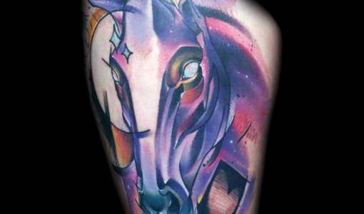 Purple Horse tattoo by Mark Halbstark