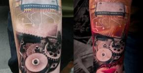 Geek tattoo of a hard drive