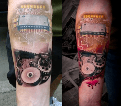 Geek tattoo of a hard drive