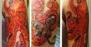 Orange octopus tattoo