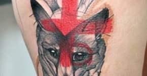 Fox tattoo on leg