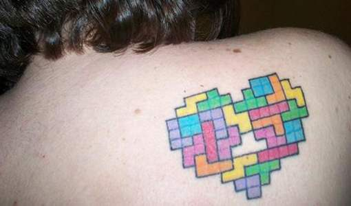 Tetris tattoo on the back