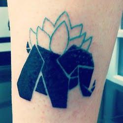 Tatuaje elefante origami