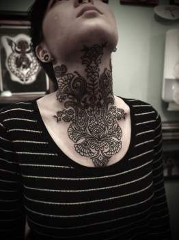 Throat tattoo for girl