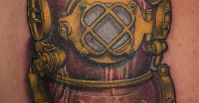 Tatuaje casco de buzo antiguo