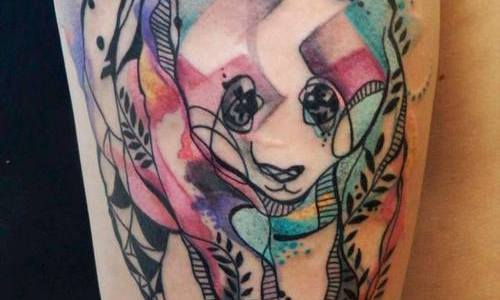 Oso panda en mosaicos