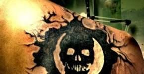 Tatuaje de calavera en la espalda