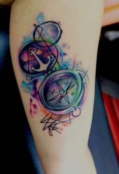 Tatuaje De Brújula De Colores Tatuajesxd