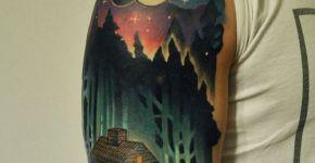 Tatuaje paisaje nocturno