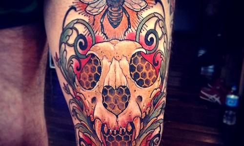 Tatuaje calavera tigre