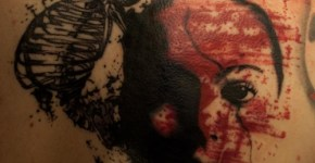 Tatuaje retrato con esqueleto
