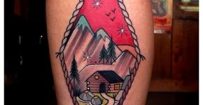 Tatuaje paisaje montañoso
