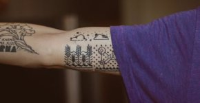 Tatuaje paisaje esquemático