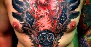 Tatuaje bisonte rojo
