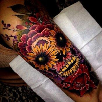 Tatuaje De Calavera De Flores Tatuajesxd