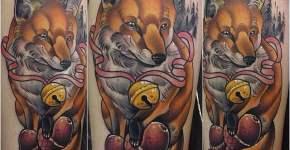 Tatuaje de zorro con cascabel