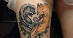 Tatuaje de zorro y mofeta
