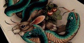 Tatuaje serpiente de dos cabezas