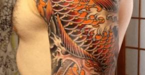Tatuaje de carpa koi naranja
