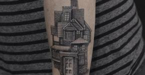 Tatuaje casa de múltiples estilos