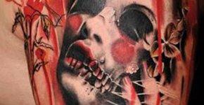 Tatuaje de mujer con flores en la cabeza