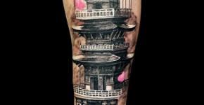 Tatuaje de templo japonés