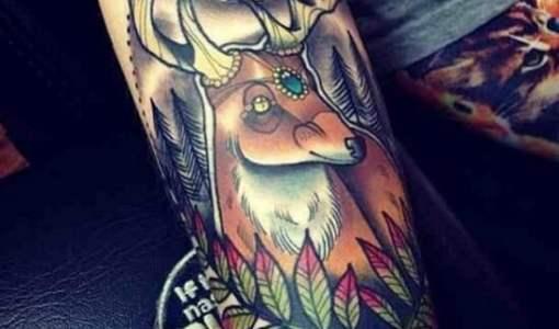 Tatuaje venado en el bosque