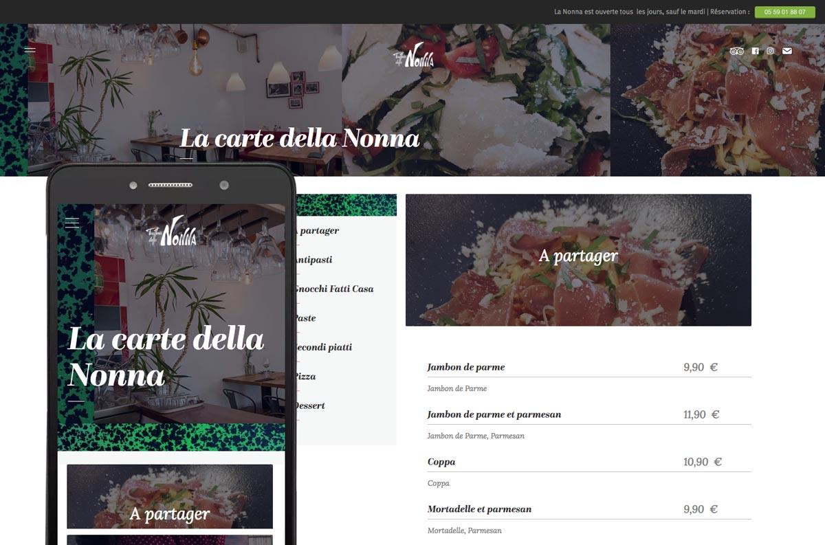 Tatziki-webdesign Trattoria della Nonna - Menu